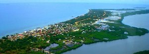 an arial of Placencia, Belize